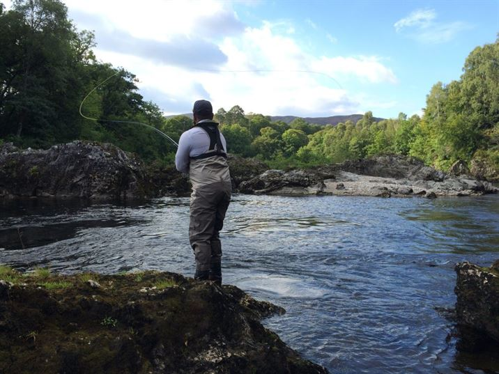 Ripon casting into a spectacular pool on beat 3 of the river Lochy